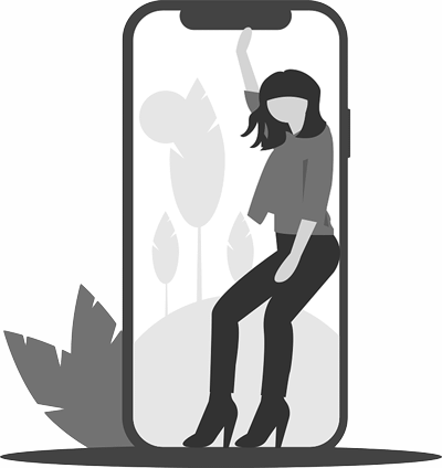 Woman in phone clipart